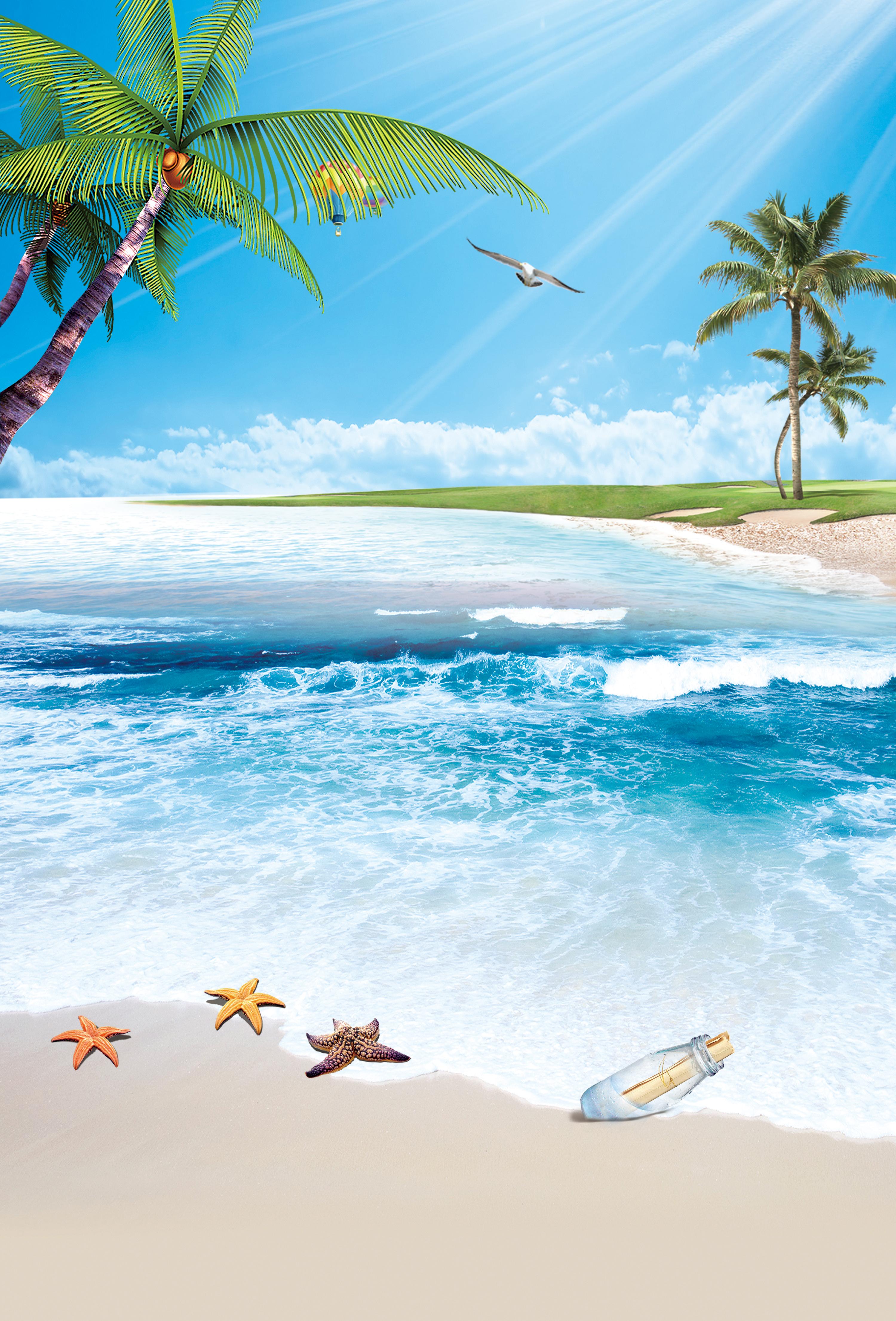 Praia Mar Oceano Areia Background Paisagem Ilha O Para 237 So