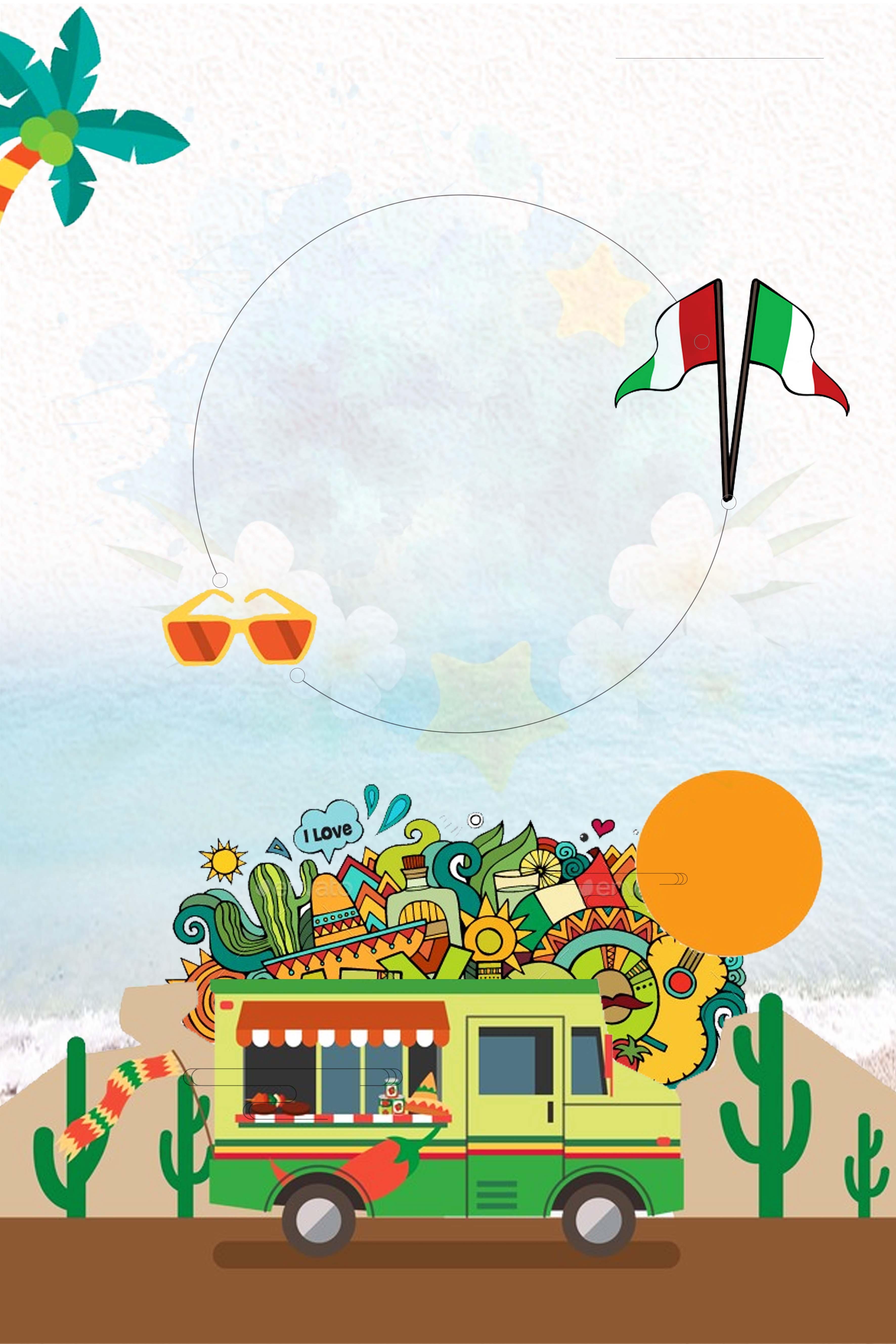 無料ダウンロードのためのアイデアイラストメキシコ旅行ポスターの背景