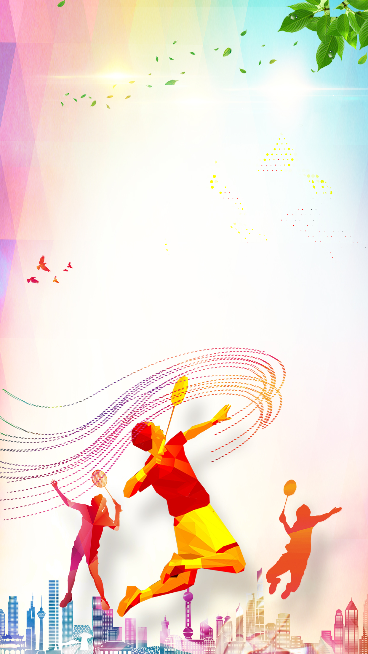badminton fitness fitness poster h5 background psd layered