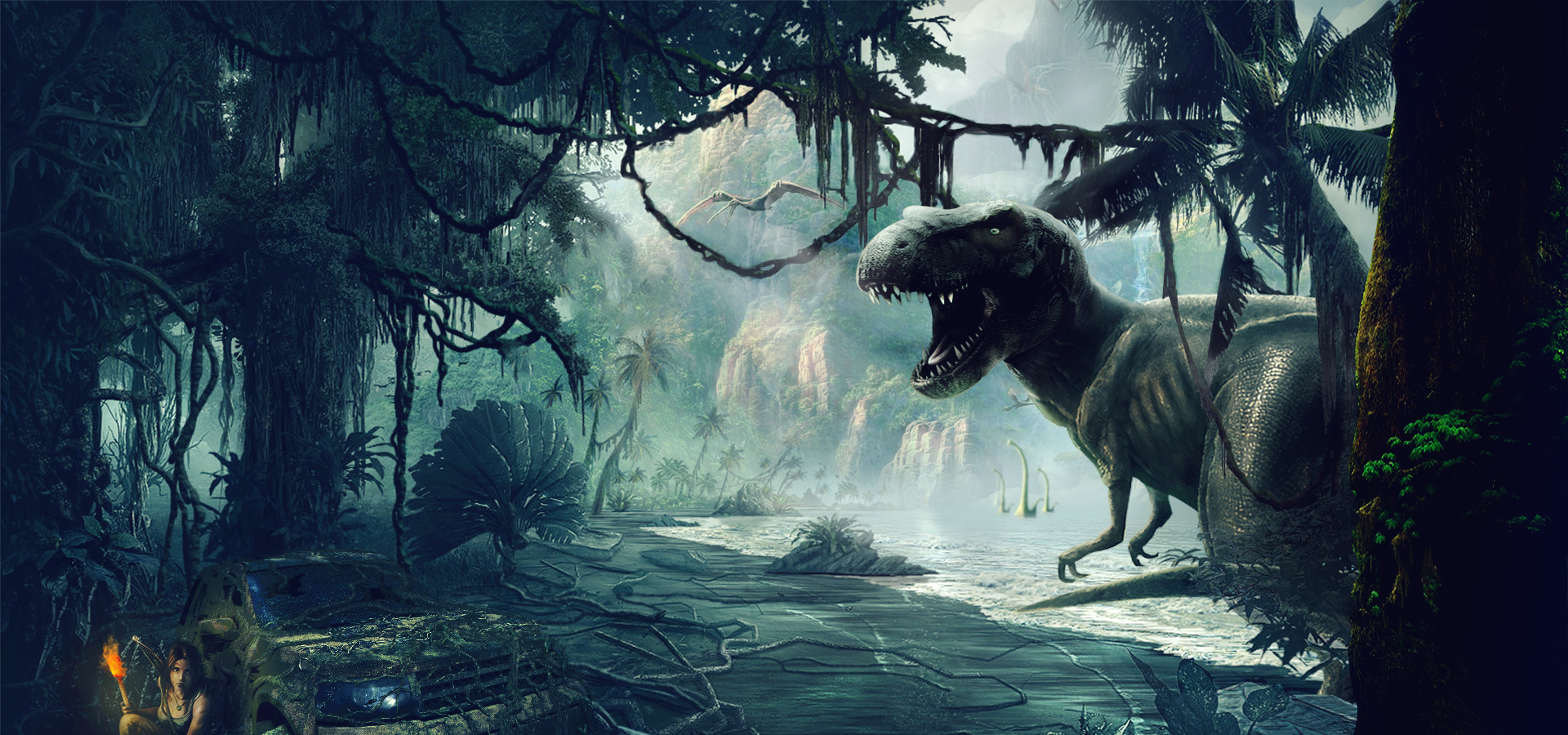 synthesize big dinosaurs into the forest  dinosaur