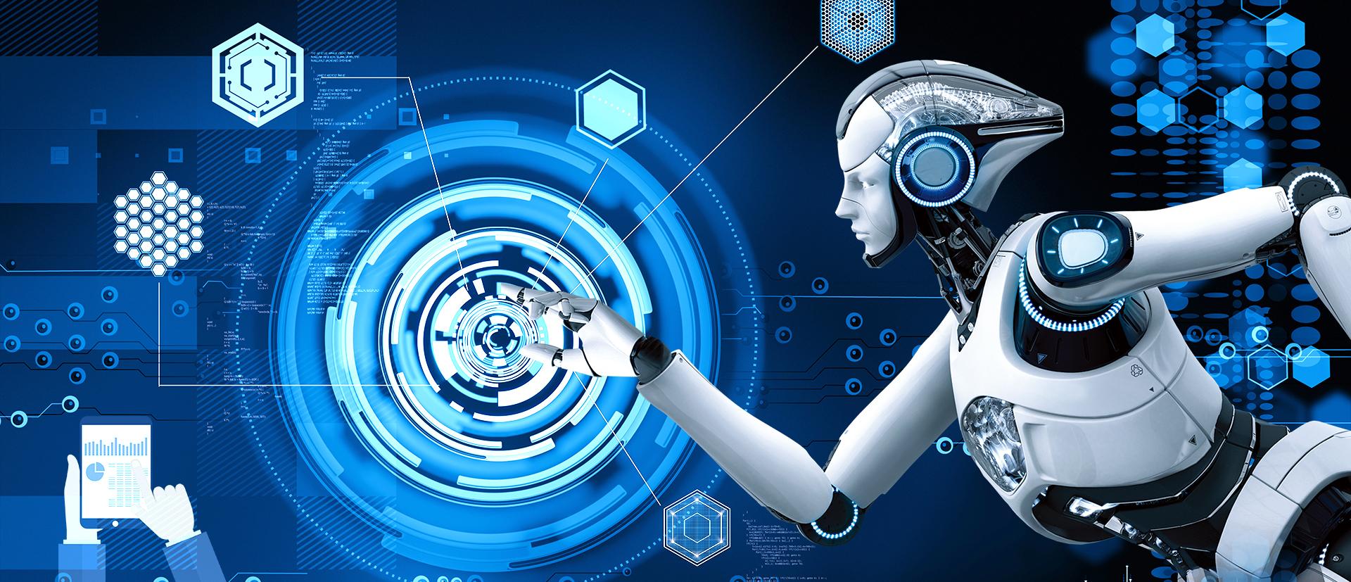 Creative Technology Smart Robot Blue Background, Creative ...