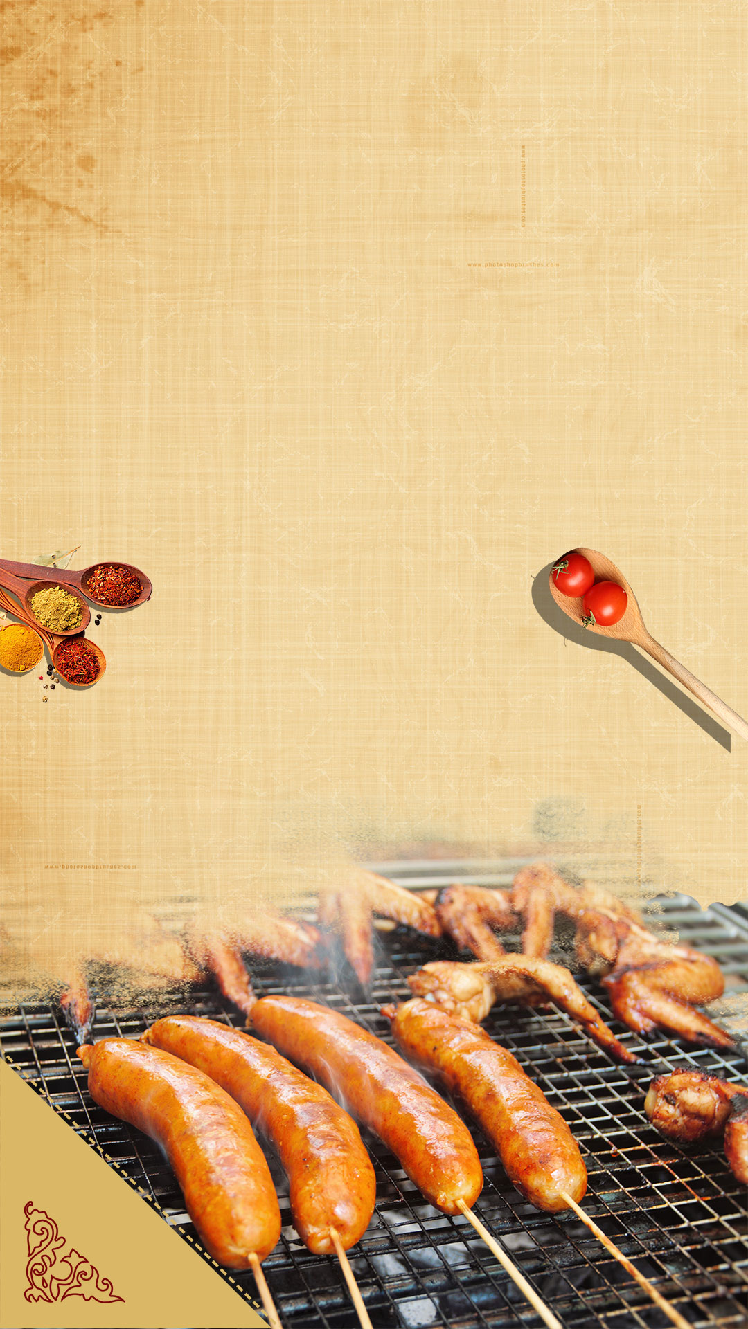 bbq chicken wings barbecue chinese wind h5 background