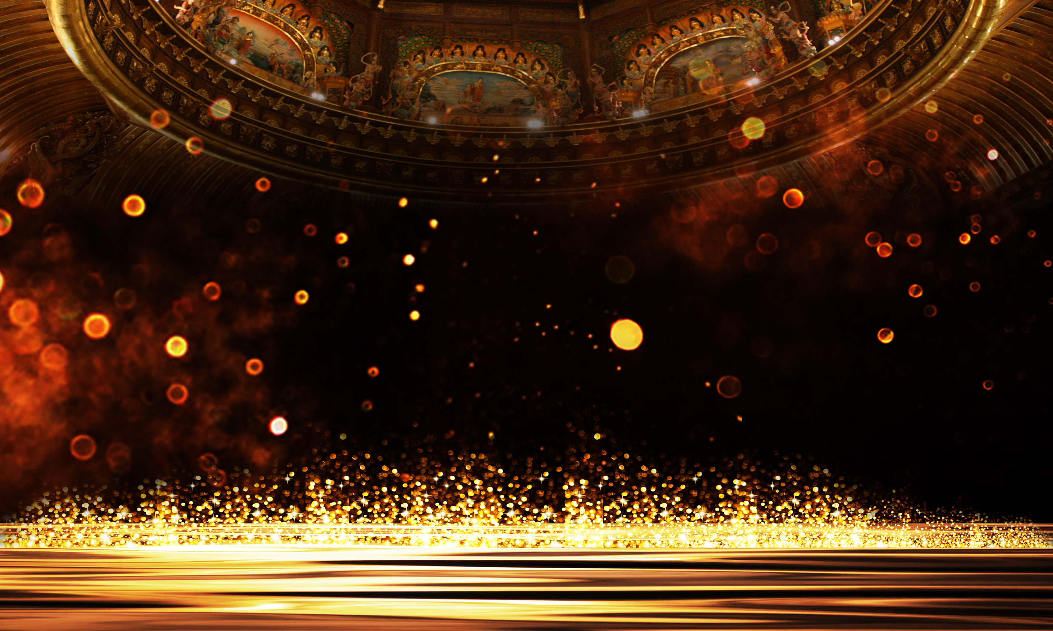 Golden Atmosphere Bright Show Board Poster Background