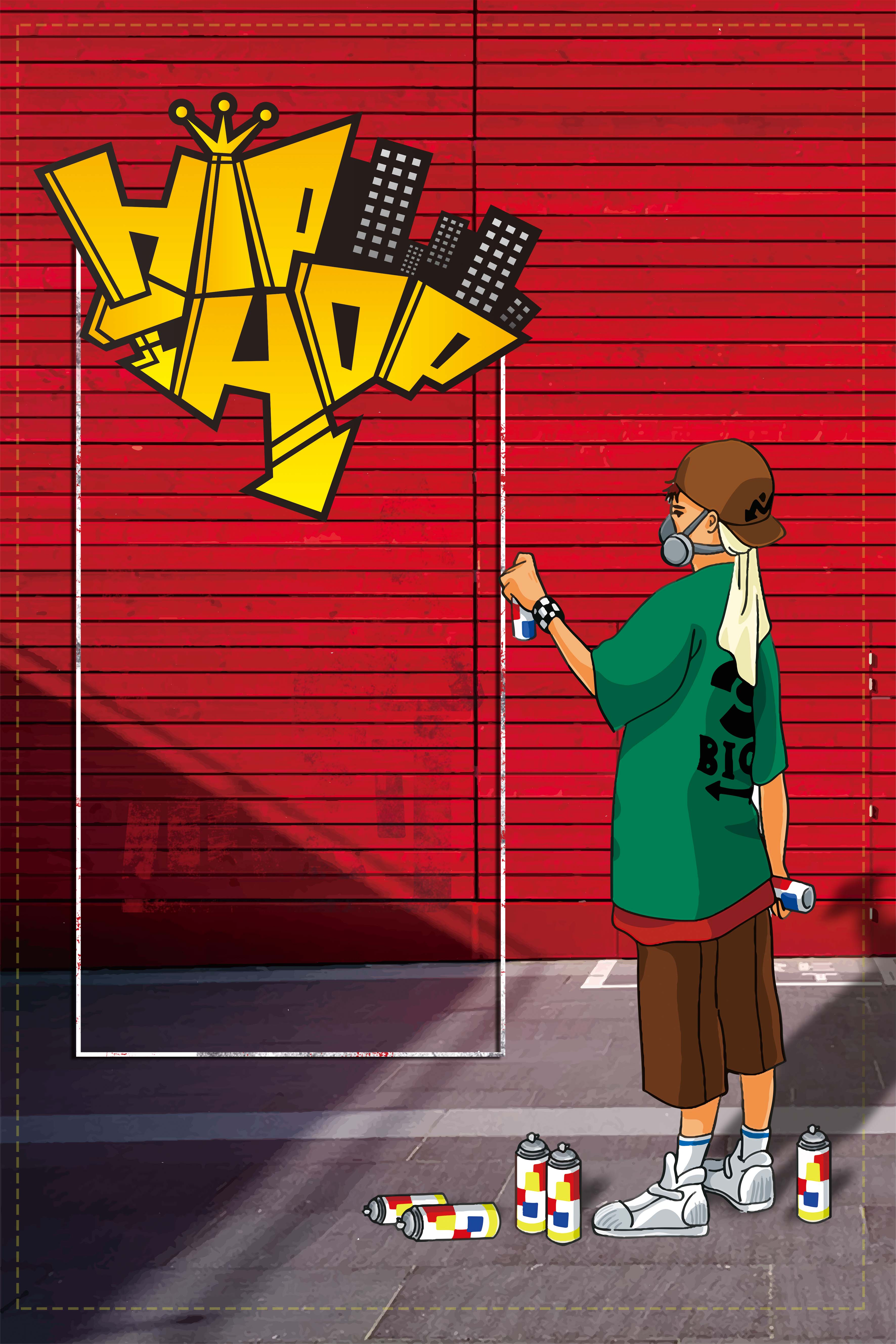 red cartoon creative hip hop party background material