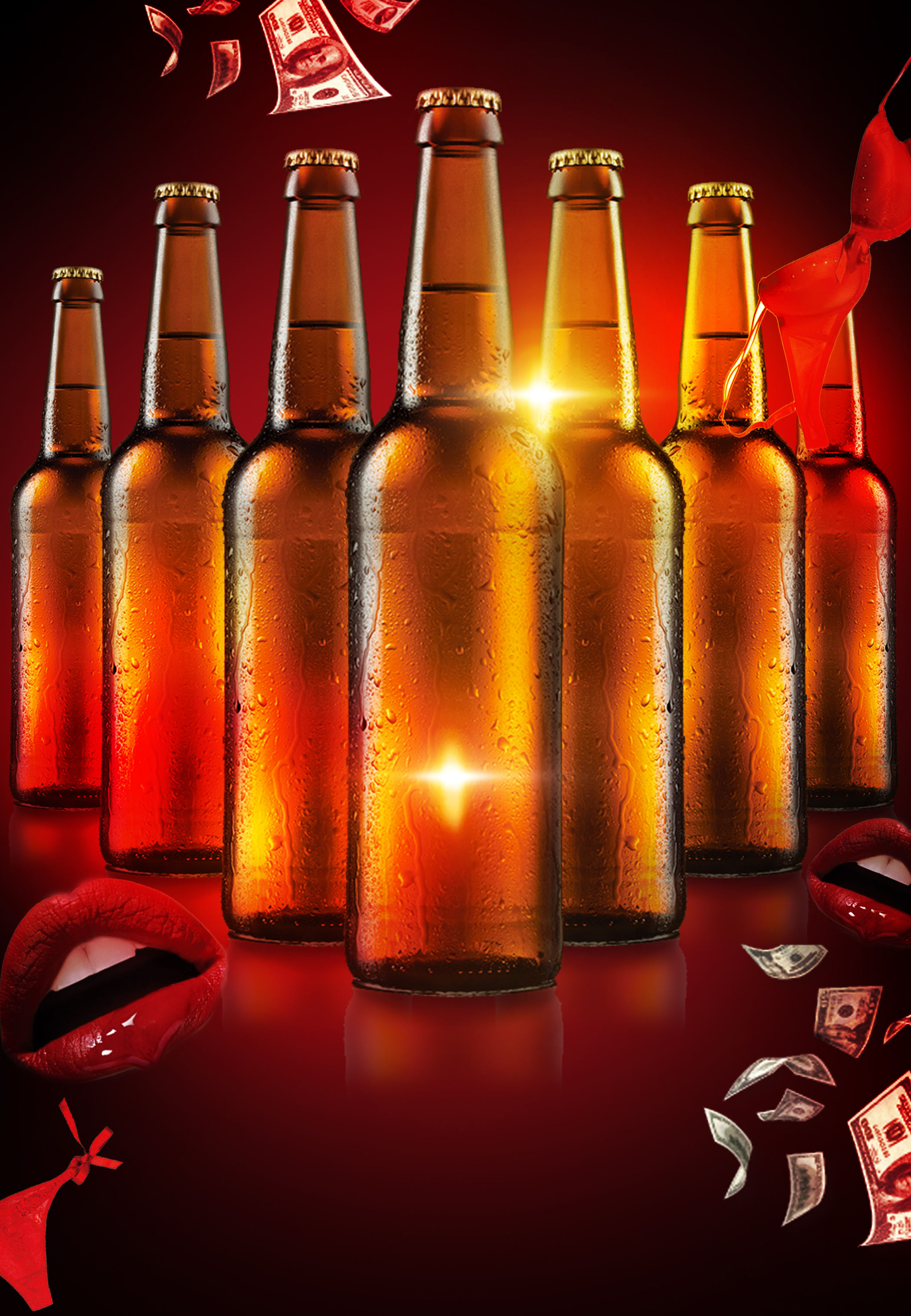 cool beer nightclub bar party poster background material