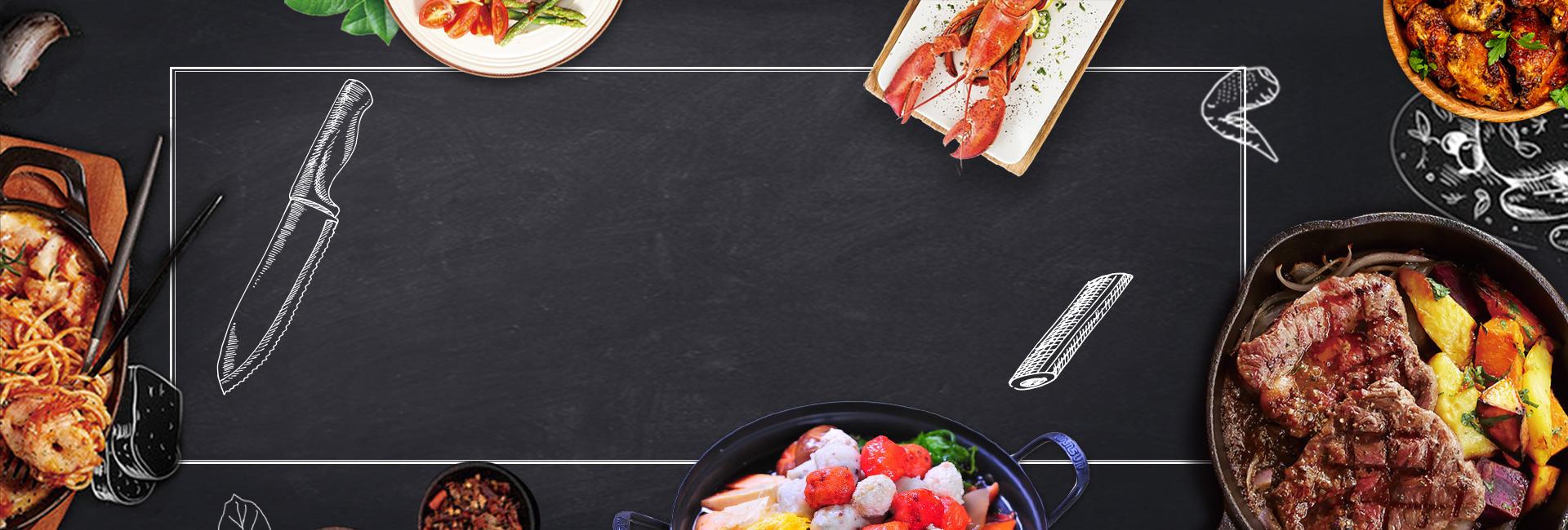Fondo De Comida Mexicana: West Steak Geometric Black Hand Painted Background, Food