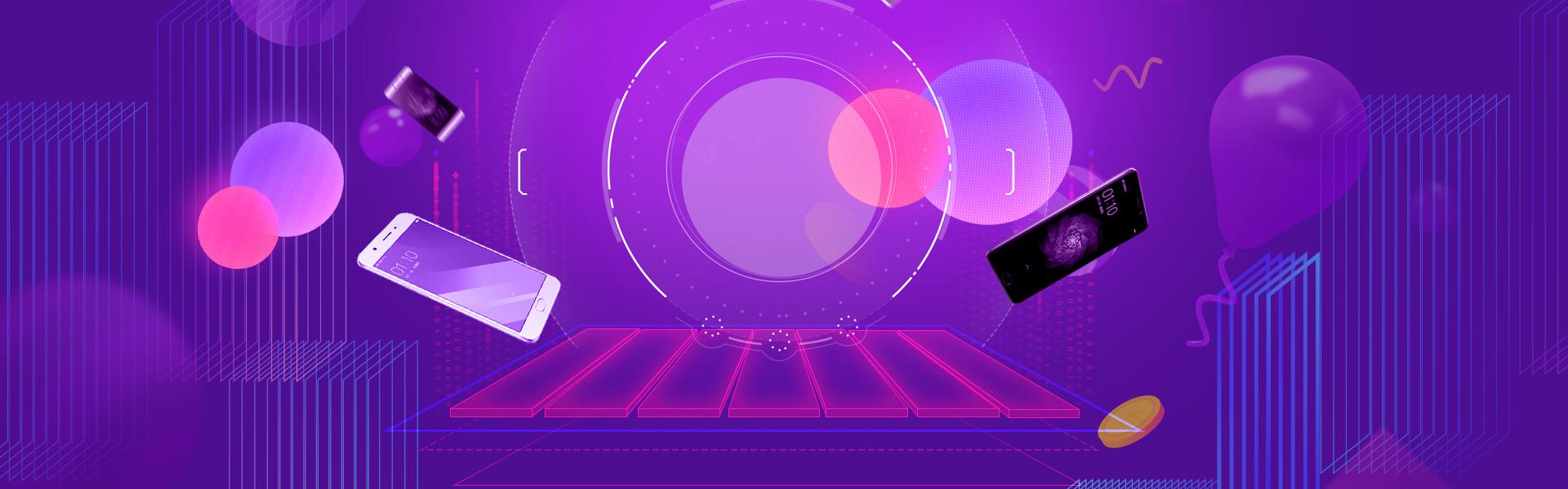 818 mobile phone promotion purple geometric background