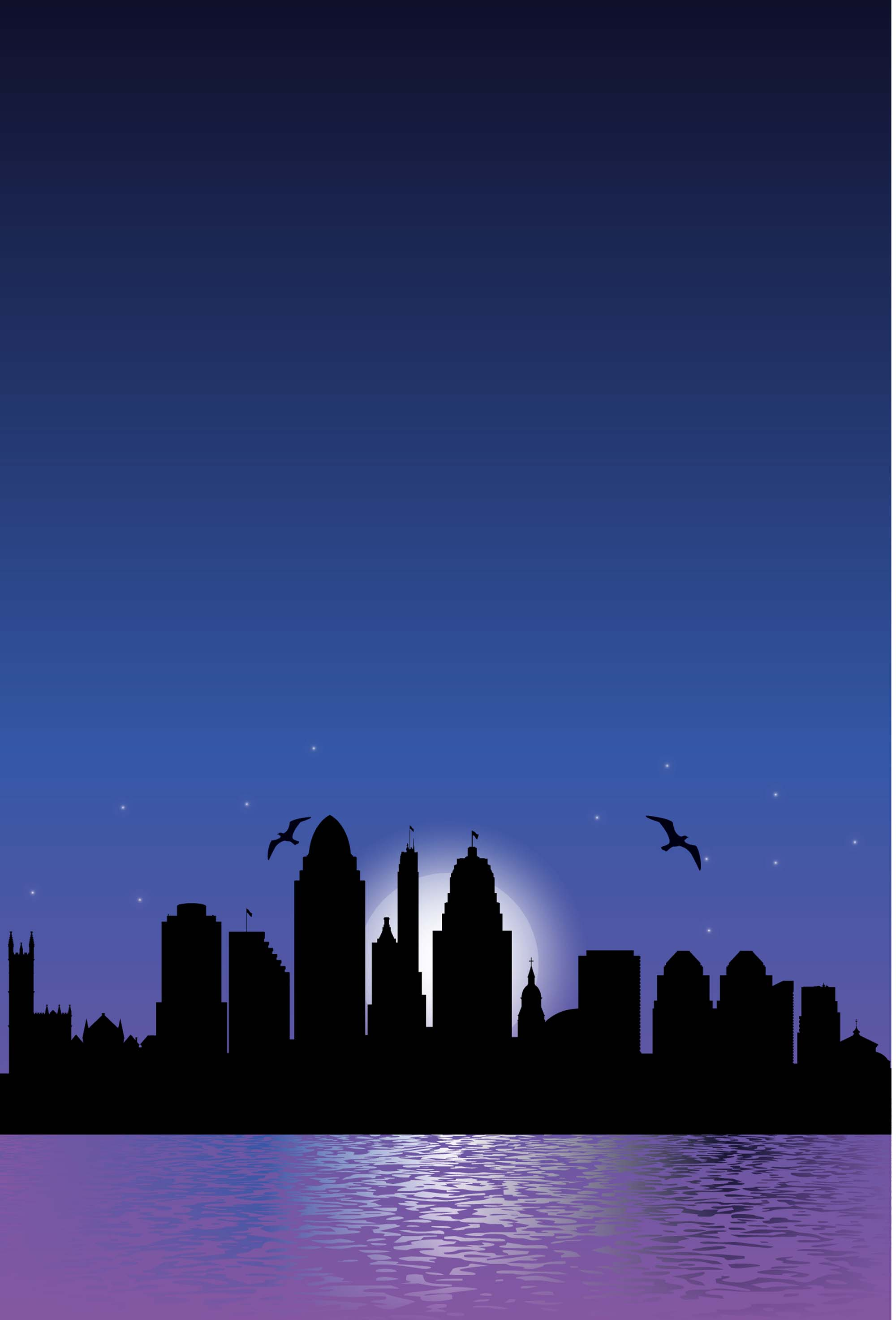 Minimalist Blue City Night Silhouette Posters Psd Layered