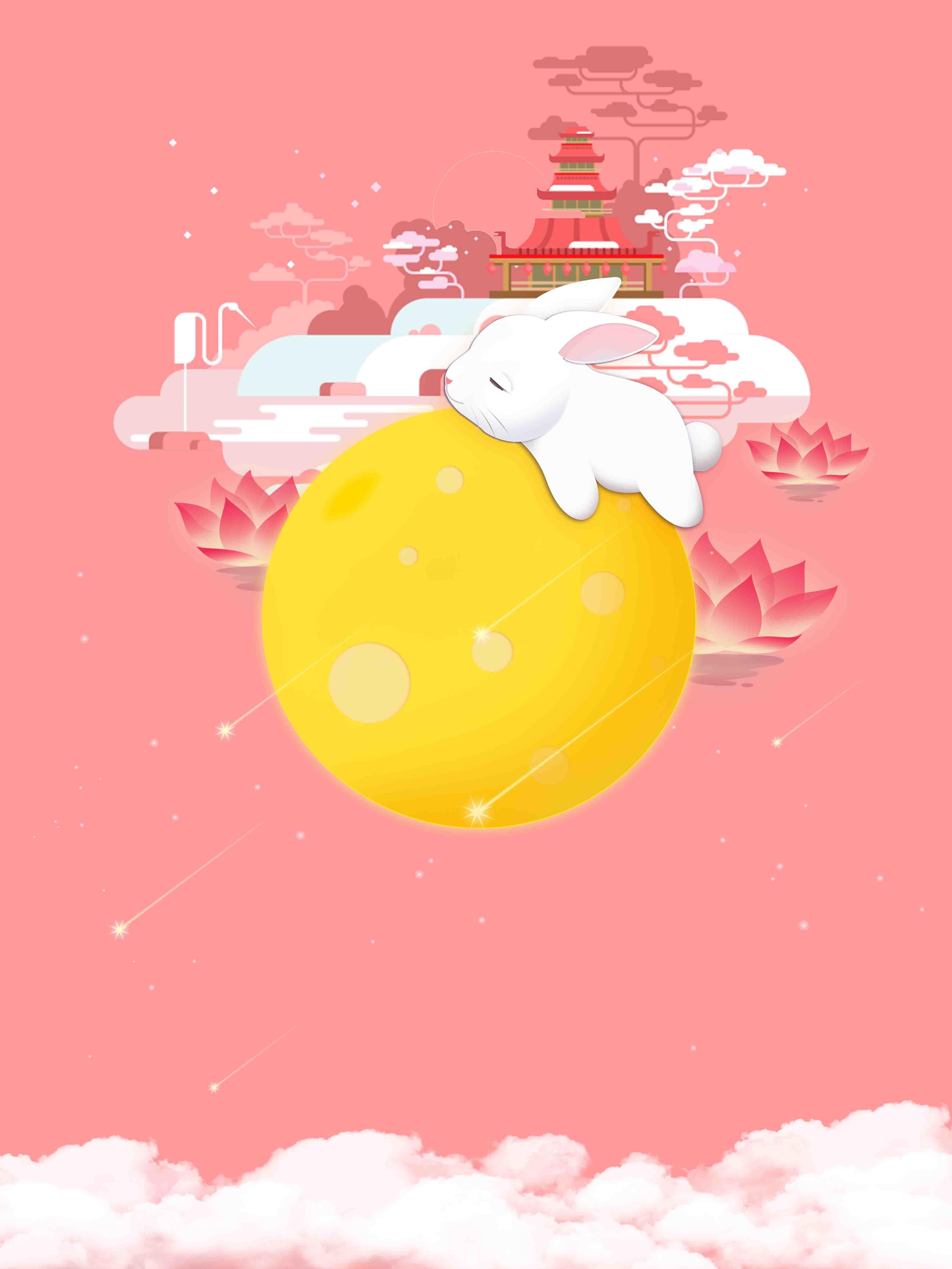 rose joli dessin du palais de festival de fond rose lapin