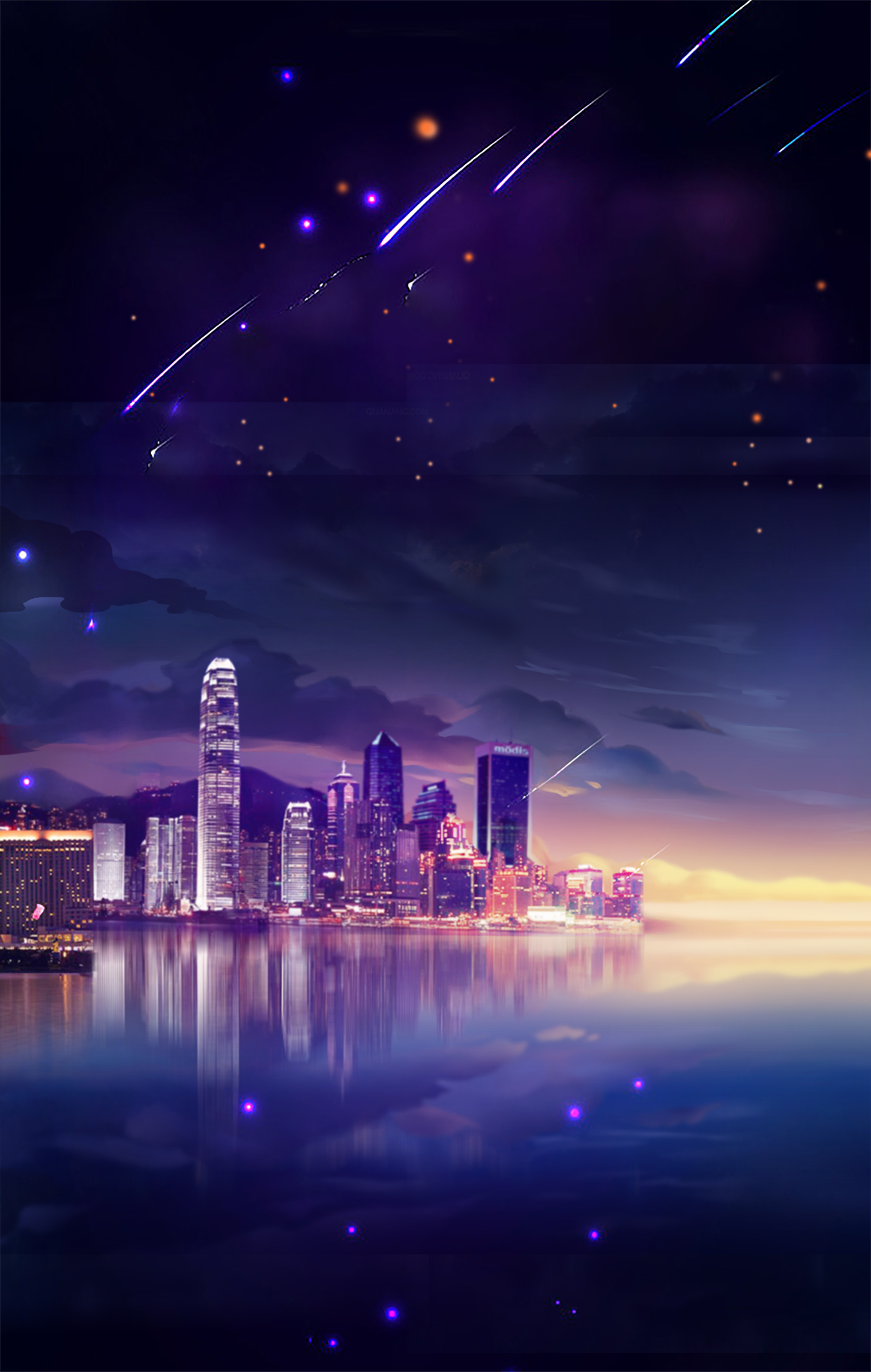beautiful city night sky tanabata poster background psd
