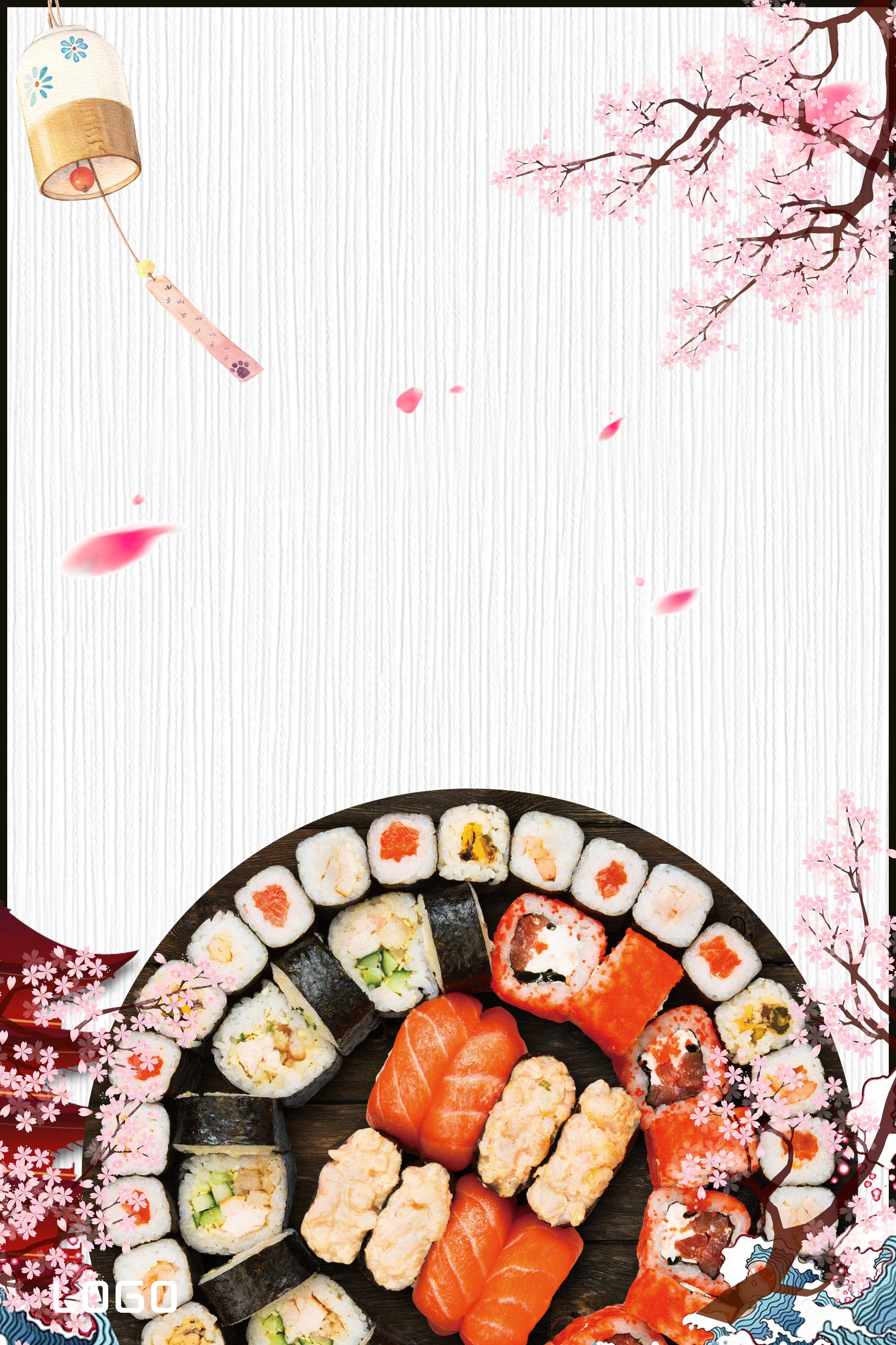 Creative Aesthetic Illustration Japanese Food Background