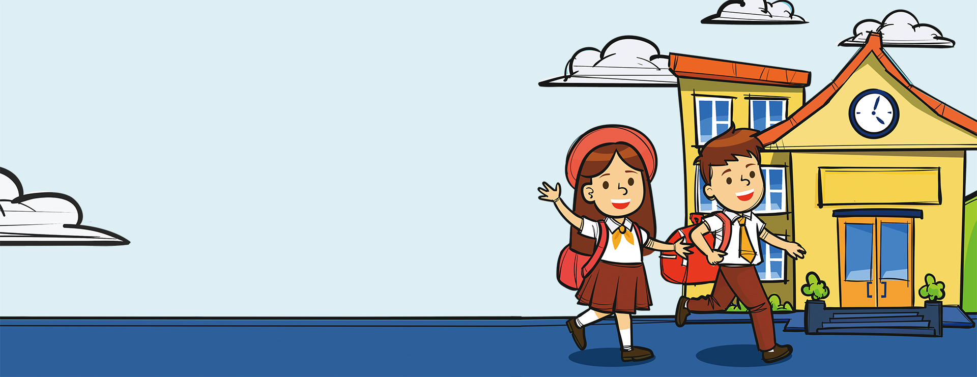 escola infantil no banner azul dos desenhos animados a