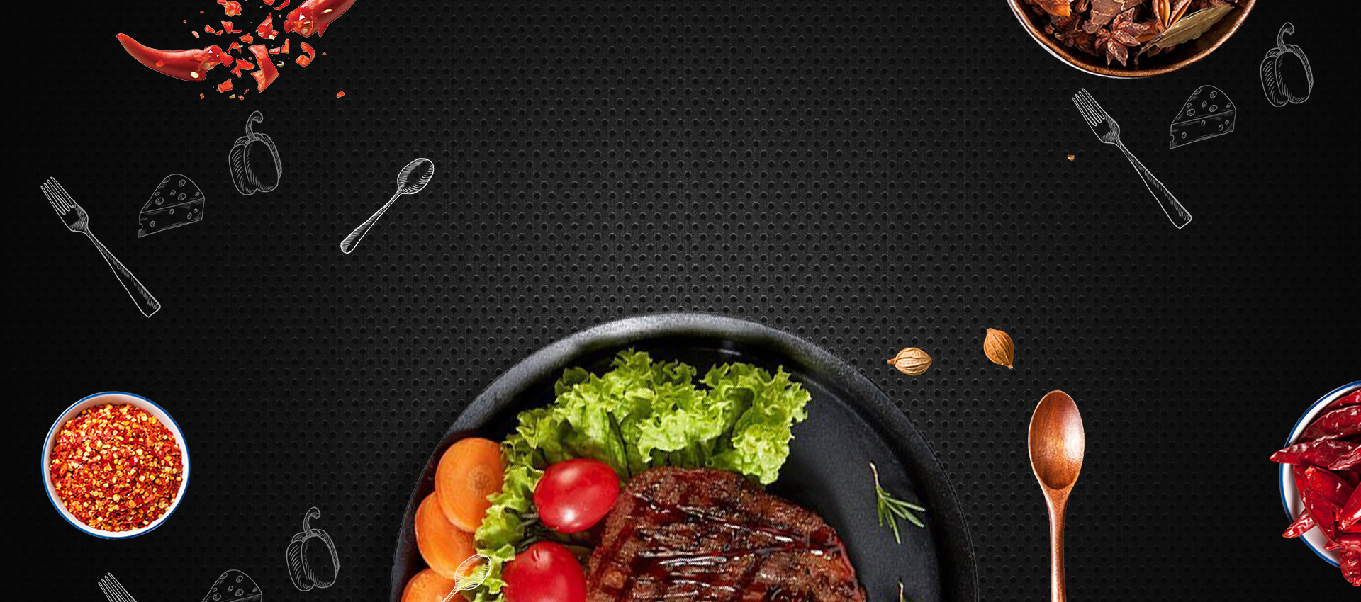 late night snack  gourmet wine  steak promotion  cool  bright  carnival background image for