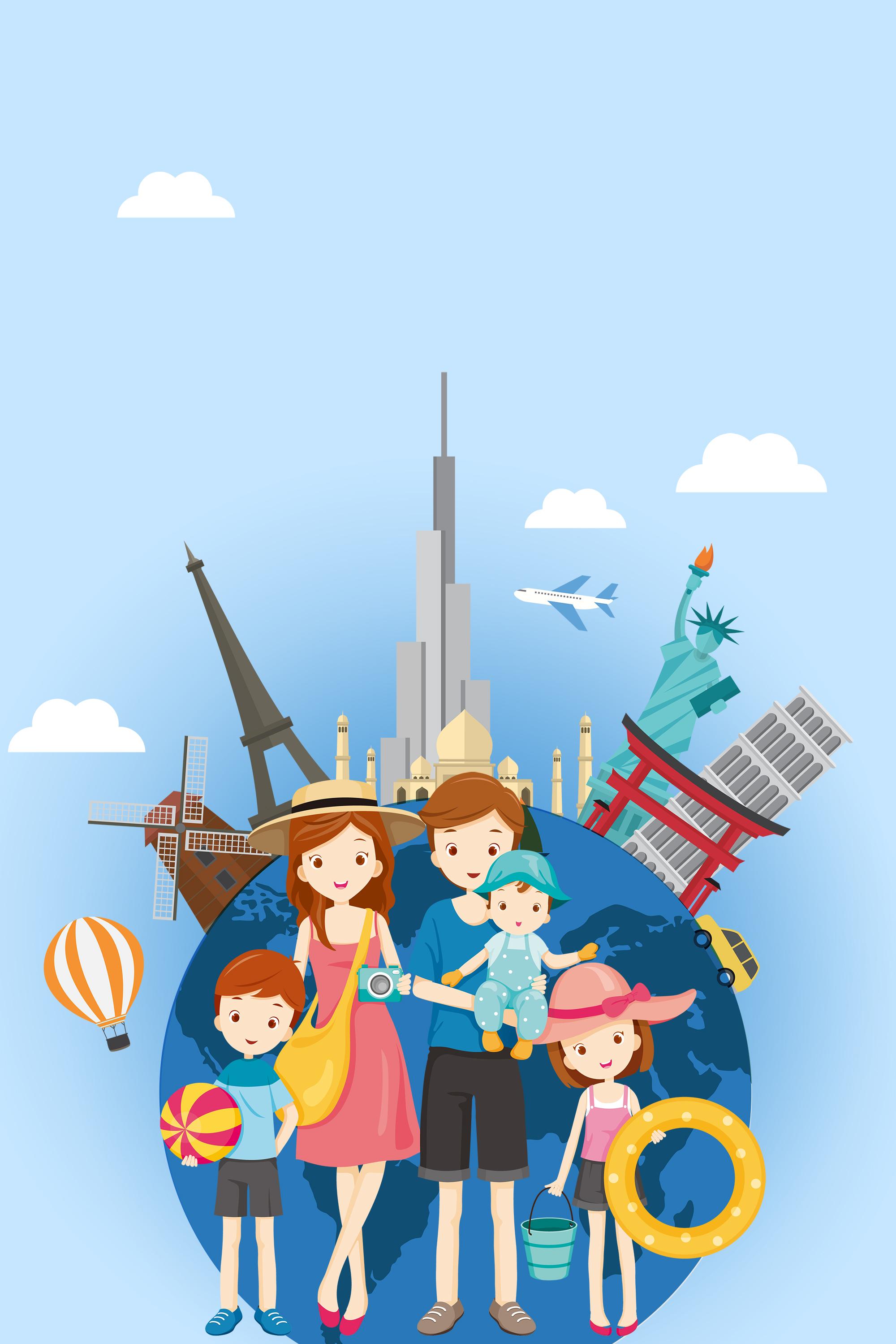 family cartoon global travel blue banner  an  autumn