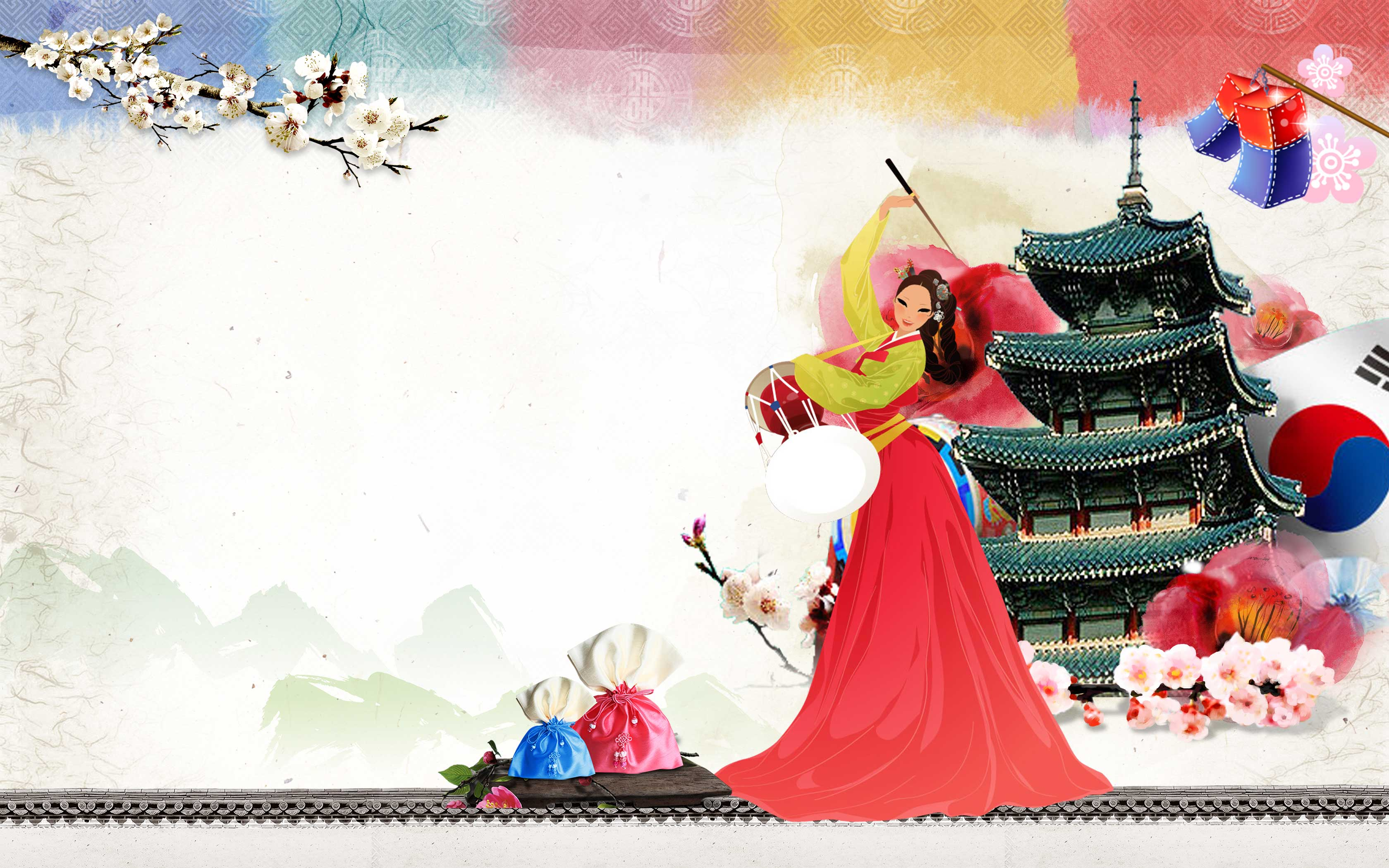 korea travel service  wind  hanbok  tourism background