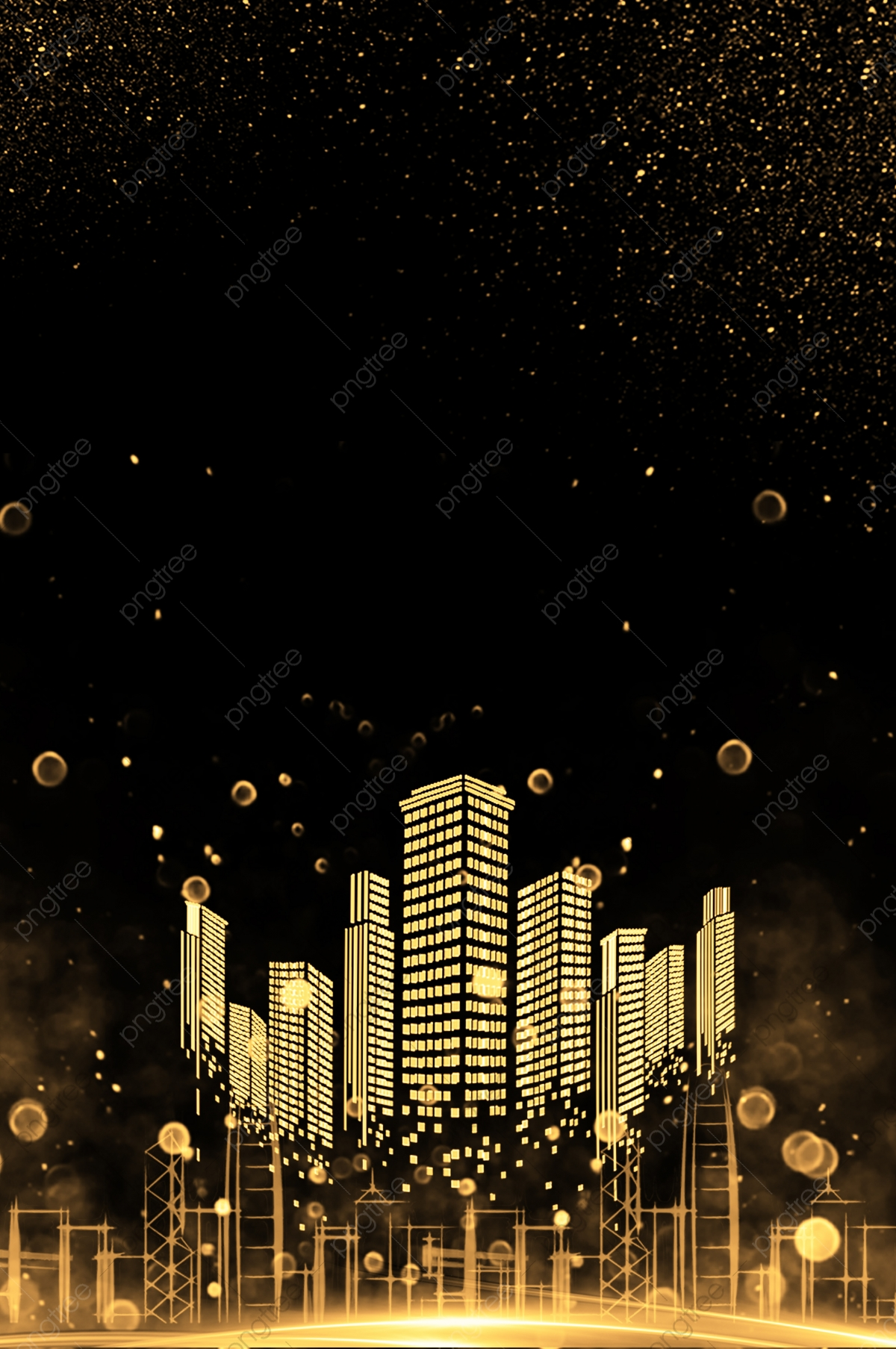 Black City Buildings Background, Night, City, Poster Background ...