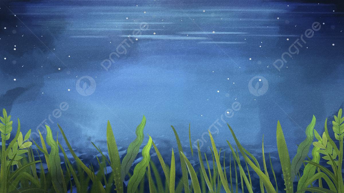 Blue Ocean And Seaweed Illustration Background, Blue Ocean, Ocean ...