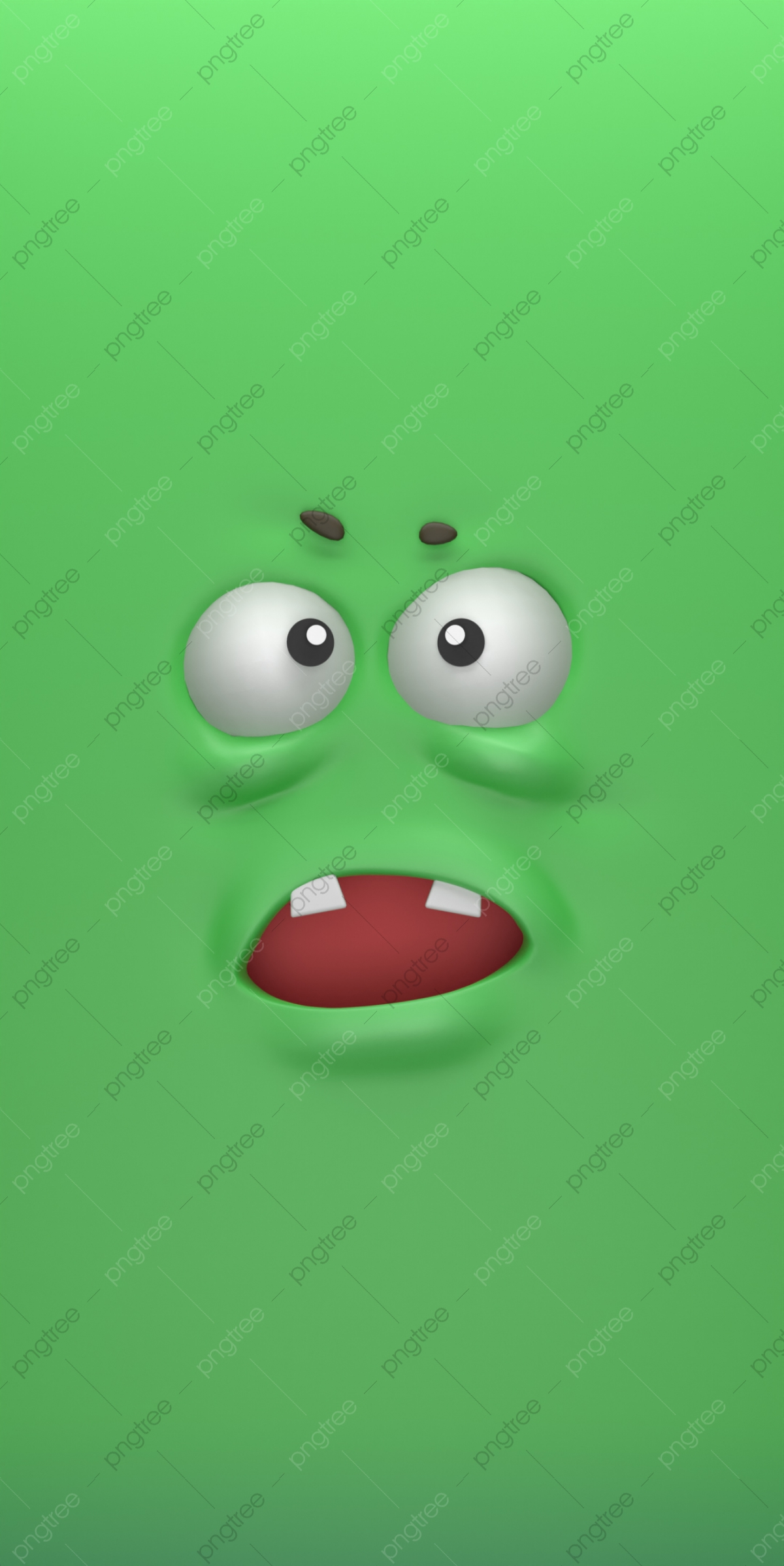 Green 3d Cartoon Expression Mobile Phone Wallpaper 3d Phone Wallpaper Big Eyes Background Image For Free Download