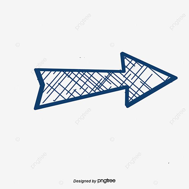 dark blue cartoon sketch painted arrow cartoon hand