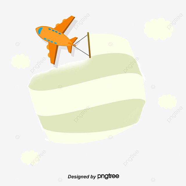 Cartoon Airplane Banner Curtain Cartoon Vector Airplane Vector
