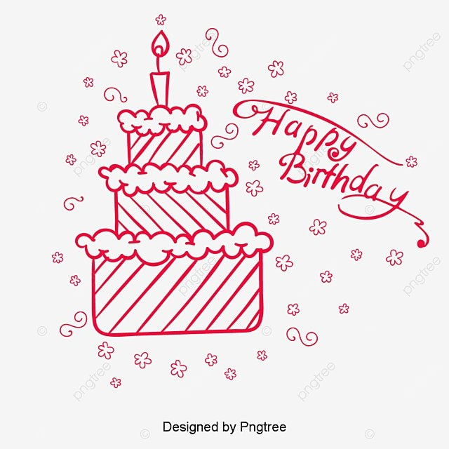 Birthday Cake Birthday Cake Line Drawing Png And Vector For Free