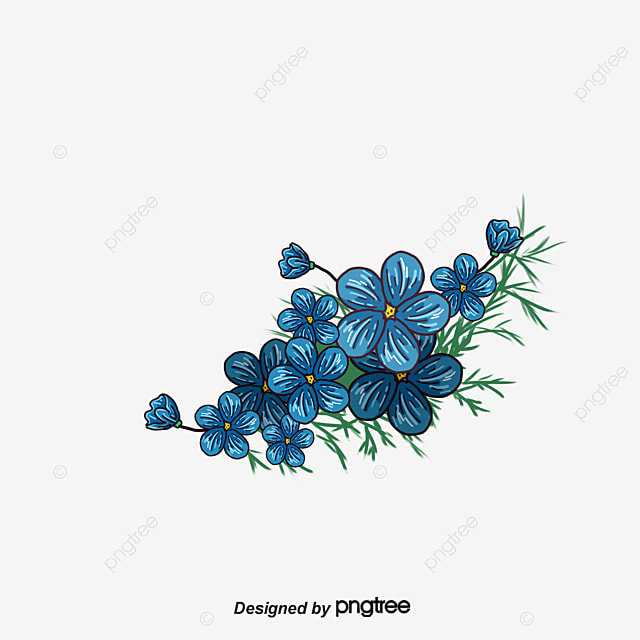 Painted Blue Flower Border Frame PNG And Vector