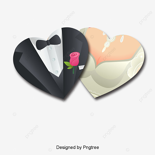 Heart Shapedbride And Groomvectordecorative Background Heart