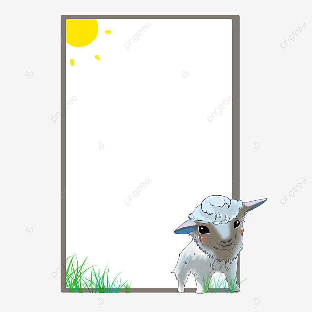 Cute Lamb Border, Lovely, Lamb, Frame PNG and Vector for ...