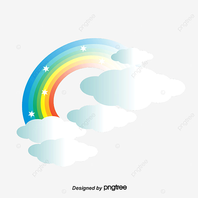 Vector Rainbow Clouds Cartoon Elements PNG And