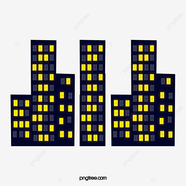 Cartoon Night Buildings, Cartoon Vector, Cartoon, Night