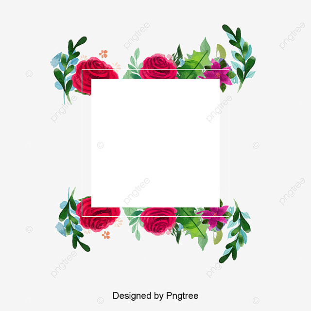 Watercolor Flower Frame Vector PNG And