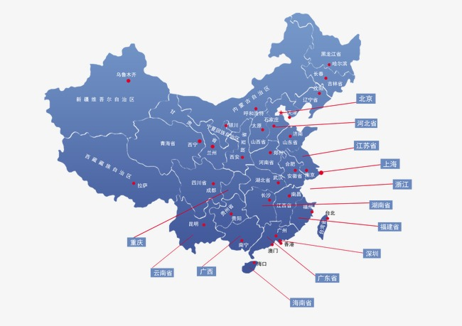 Map of China, Area, Blue PNG and PSD