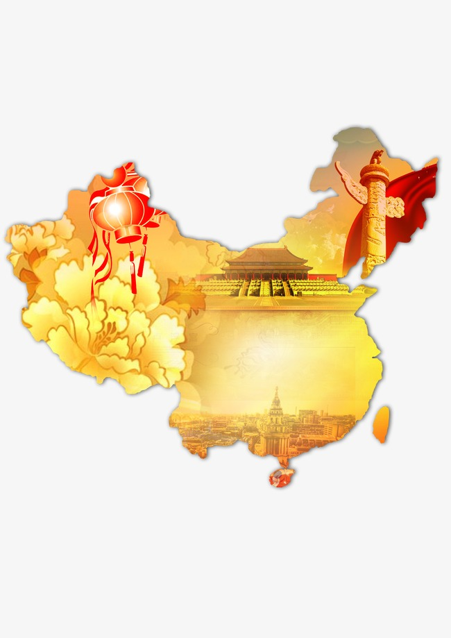 China Creative Wind Map, Tiananmen Square, Peony, Chinese Style PNG and PSD