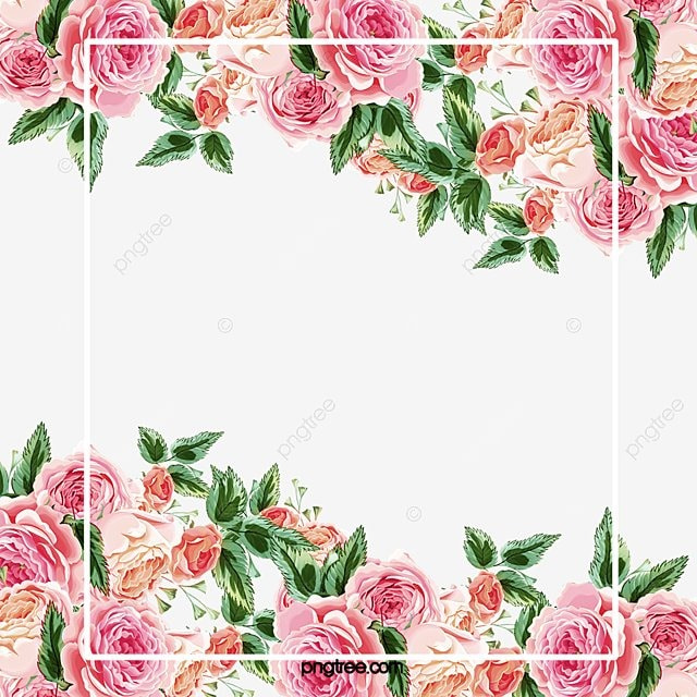 Pink roses border, Pink, Hand Painted, Rose PNG and PSD ...
