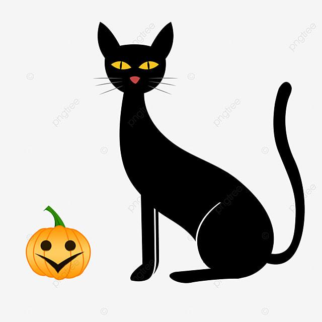 Cartoon noir et un mat riau vecteur citrouille de - Un chat gratuit ...