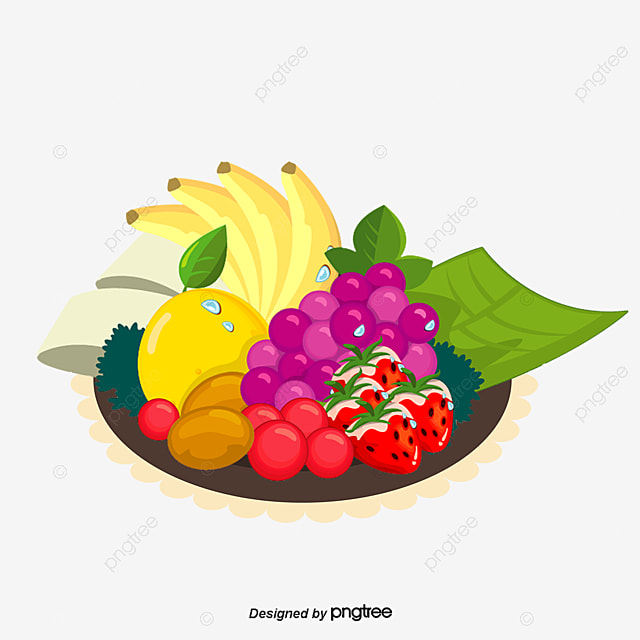 plato de fruta de dibujos animados vector cartoon pintado a mano png