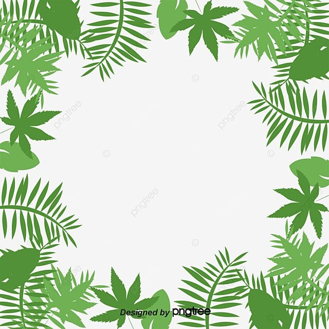 Palm Leaf Border Cartoon Hand Painted Vector Png And