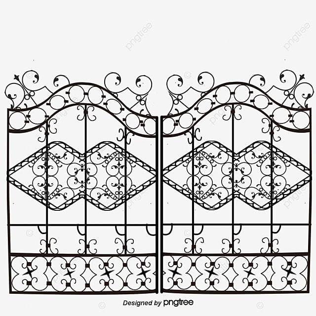 باب النمط الأوروبي البوابة المرسومة بوابة حديد سياج حديدي Png وملف Psd للتحميل مجانا