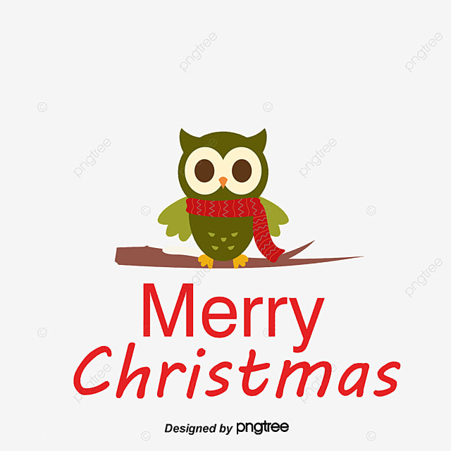 Merry Christmas, Owl, Cartoon PNG and Vector
