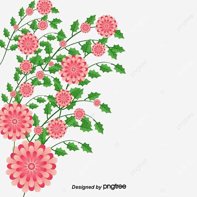 Painted Flowers Corner PNG Image And Clipart