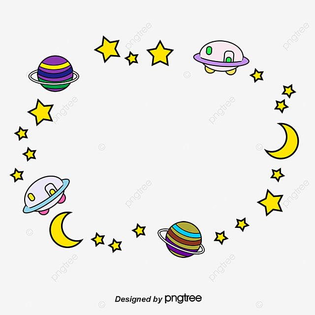 Space Planet Border Vector Cartoon Hand Painted Png And