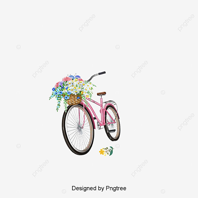 exquisite beautiful flower baskets bicycle, Beautifully Basket, Flower Baskets, Baskets PNG Image