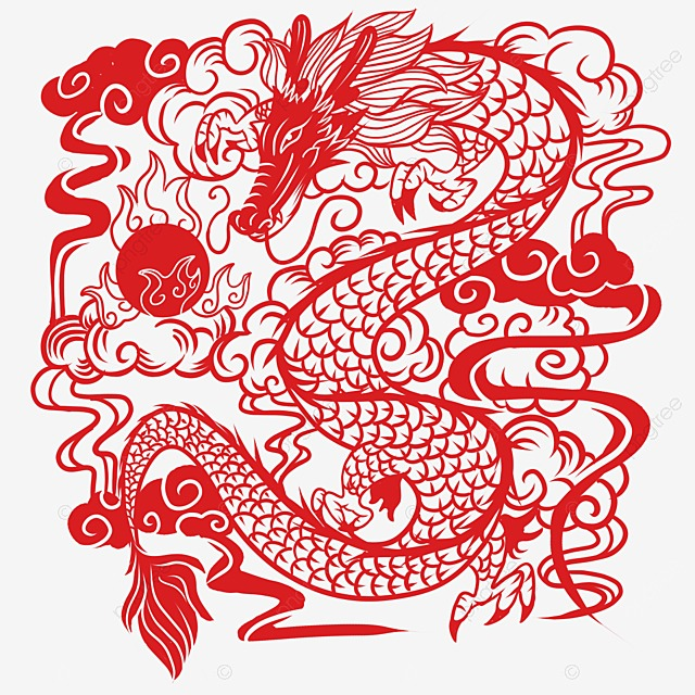 Chinese paper cut dragon chinese vector dragon vector for Chinese paper cutting templates dragon