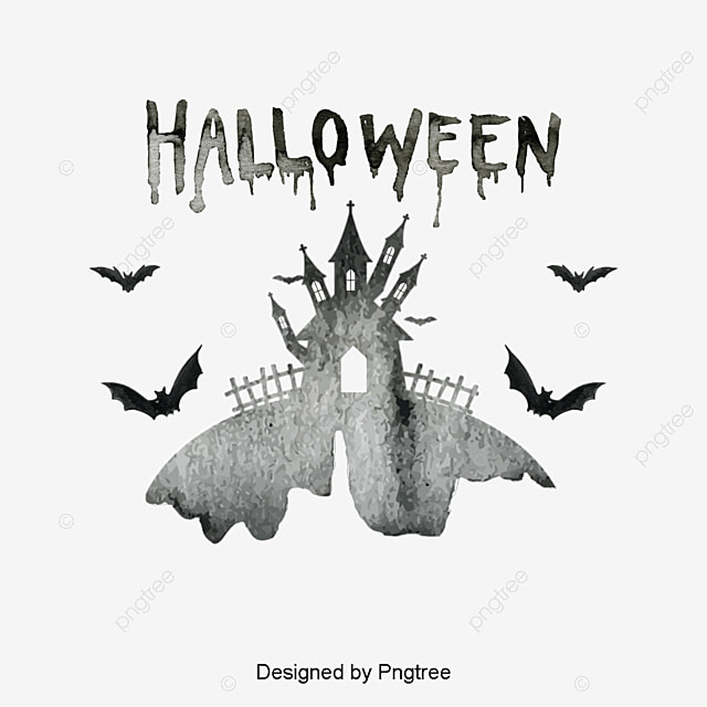 Halloween design elements, Ink Drawing Halloween Castle HALLOWEEN ...