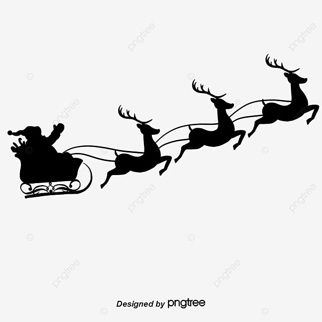 Christmas Silhouette Santa Claus Reindeer PNG And Vector