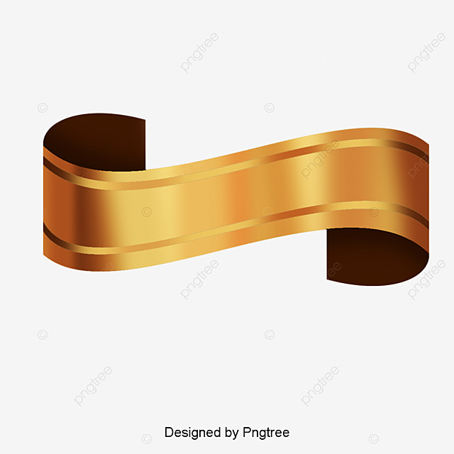 Gold ribbon vector design, High-grade Gold Ribbon Label, Fashion Labels, Creative Ribbon PNG and Vector