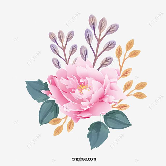 Watercolor Flowers Pink Flowers Highlights Leaf Png