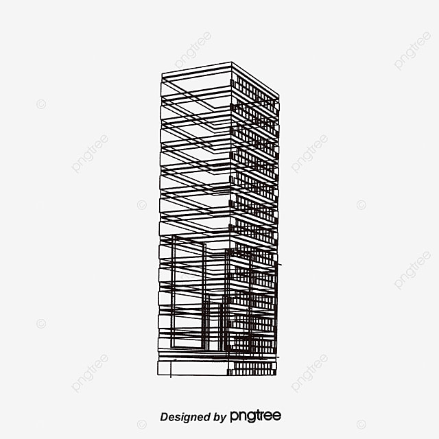 Line Drawing City : City building line drawings dynamic hand painted