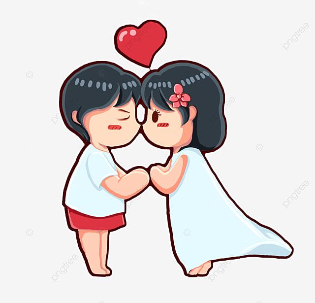 kissing lovers hand painted cartoon lover lover. Black Bedroom Furniture Sets. Home Design Ideas