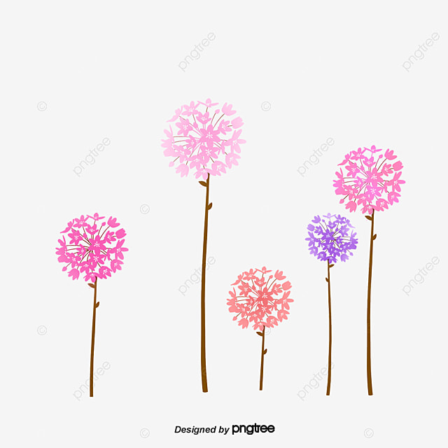Creative hand-painted flowers, Dandelion, Flower PNG and PSD